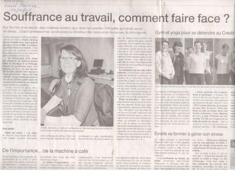Ouest France souffrance au travail